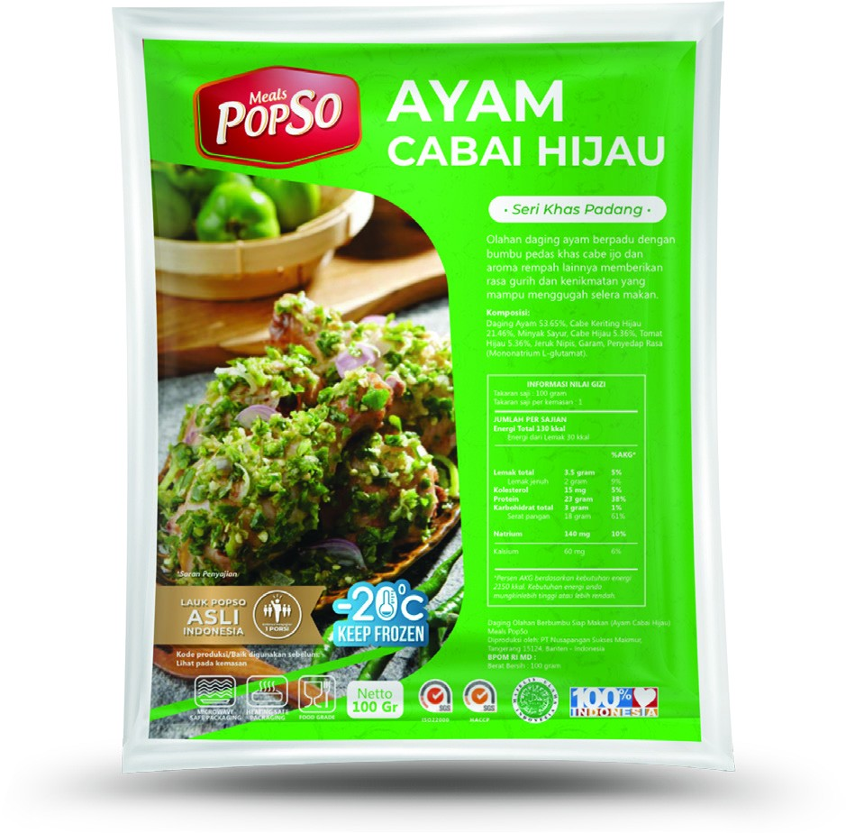 POPSO - Ayam Cabe Hijau (Green Chili Chicken Spicy) Personal Pack - 100 Gram